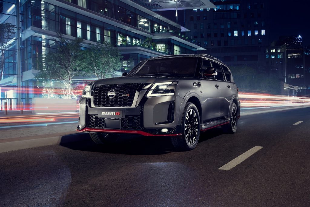 An image of a 2021 Nissan Patrol Nismo out on the road.