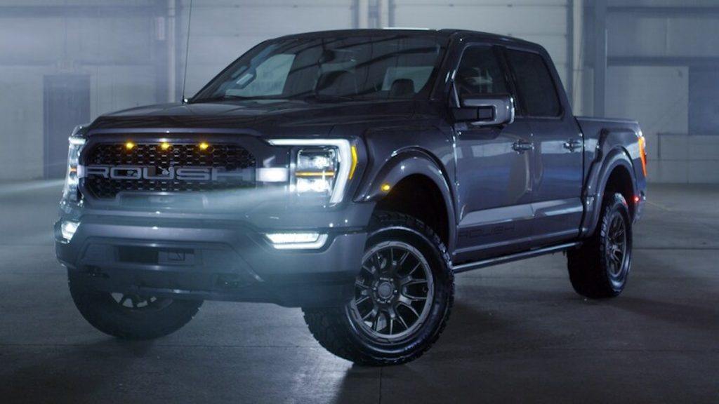 2021 Roush Ford F-150 parked in a dark smokey room