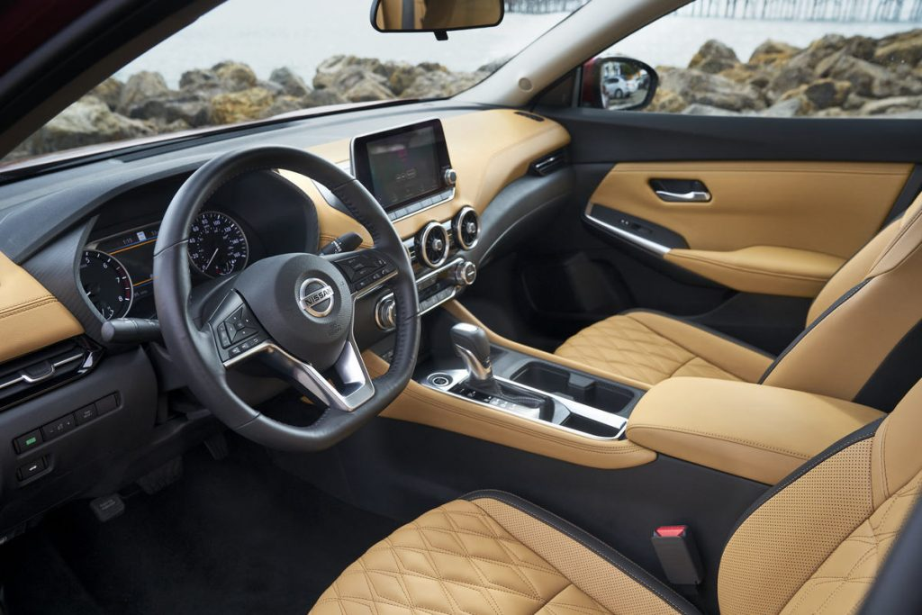 the tan leather interior of the 2021 nissan sentra