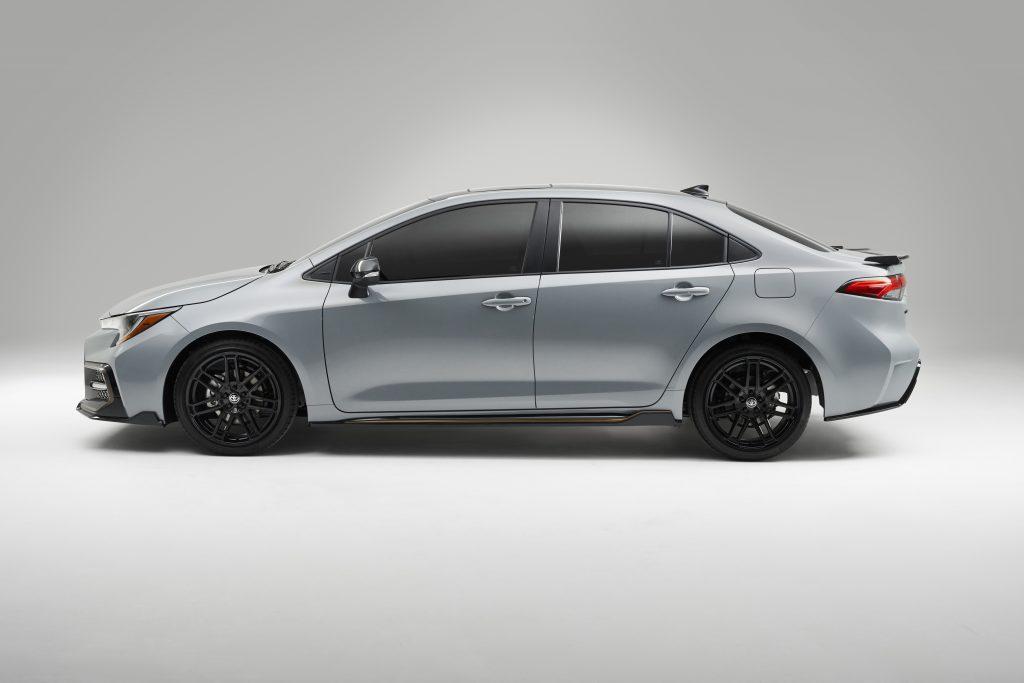 A white 2021 Toyota Corolla sedan against a white background