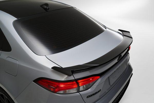 The rear spoiler of a 2021 Toyota Corolla Apex