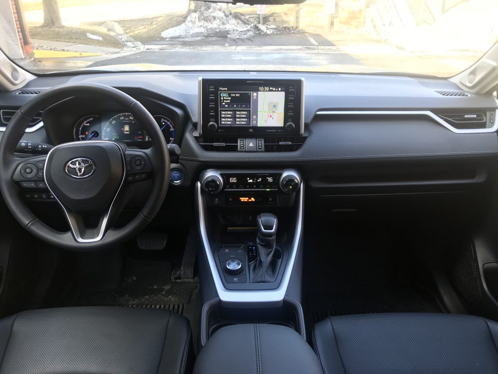 An interior shot of the 2021 Toyota RAV4 Hybrid
