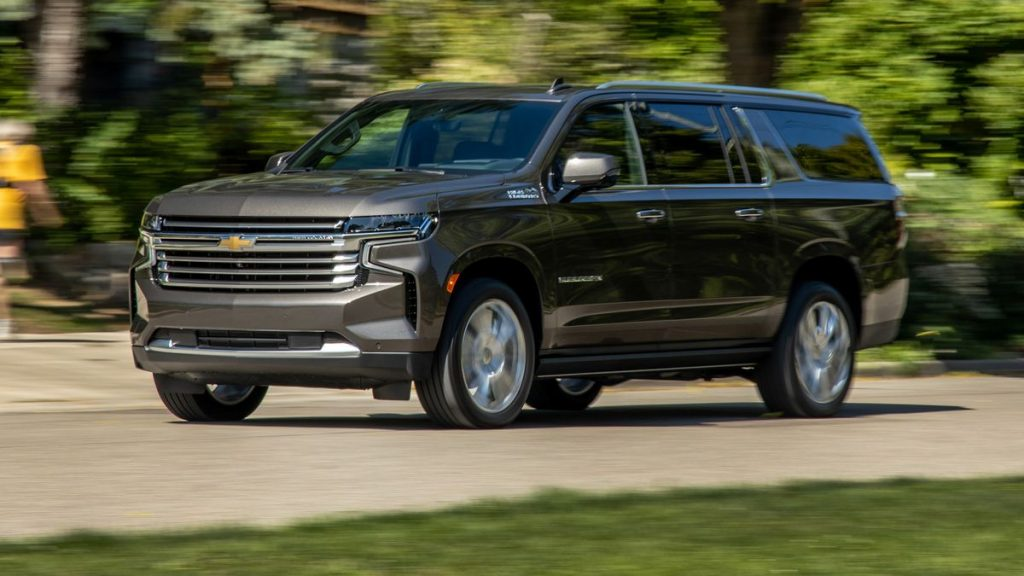The 2021 Chevy Suburban driving on the street. The diesel version is officially the most fuel-efficient  SUV that is 4wd and fullsize