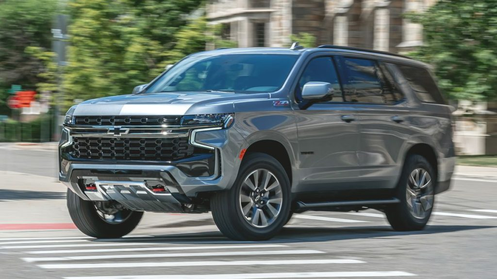 The 2021 Chevy Tahoe z71 driving on the street