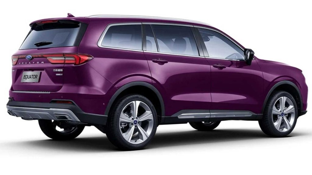 rear 3/4 view of purple 2021 Ford Equator