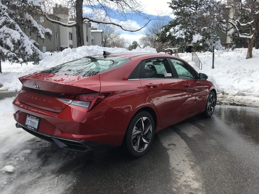 rear shot of the 2021 Hyundai Elantra in the snow