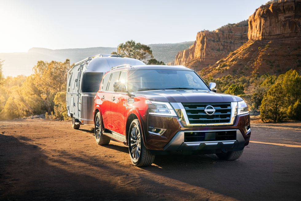 The 2021 Nissan Armada pulling an Airstream trailer