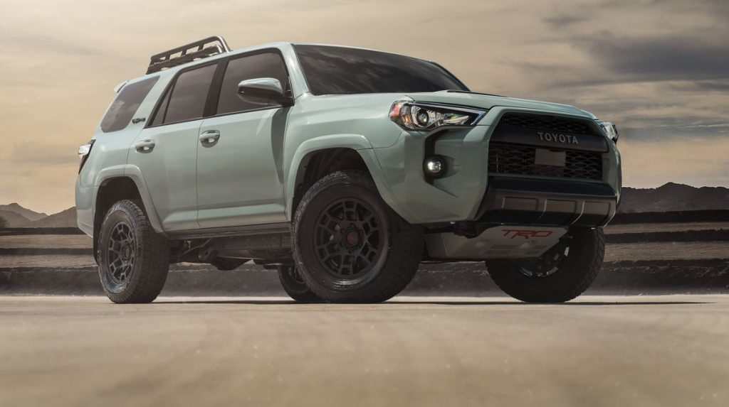 The 2021 Toyota 4Runner TRD parked in sand