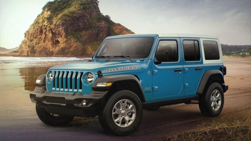 2021 Jeep Wrangler Islander Edition parked in sand
