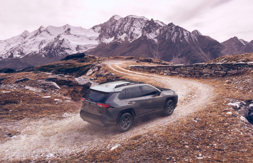 A 2021 Toyota RAV4 TRD Off Road traveling on a dirt pathway