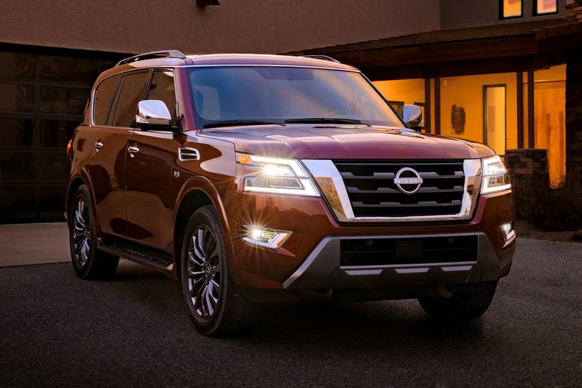 The 2021 Nissan Armada Platinum parked in front of a house