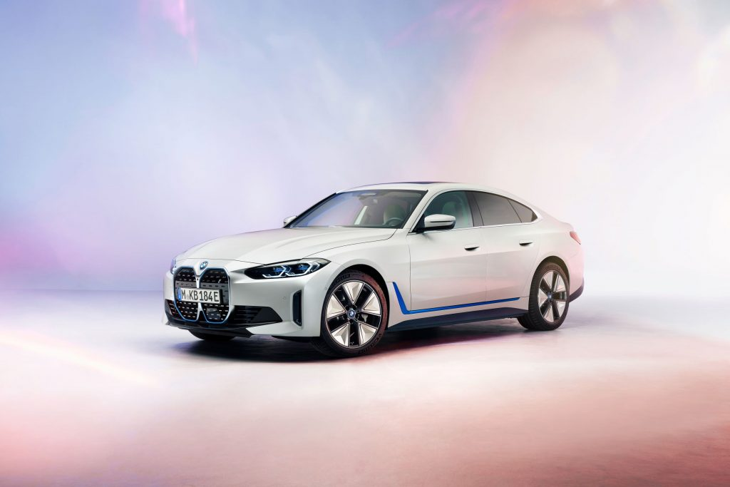 A white-with-blue-elements 2022 BMW i4