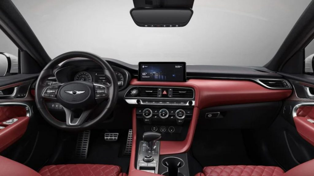 A look at the red quilted-leather interior of the 2022 Genesis G70 Launch Edition