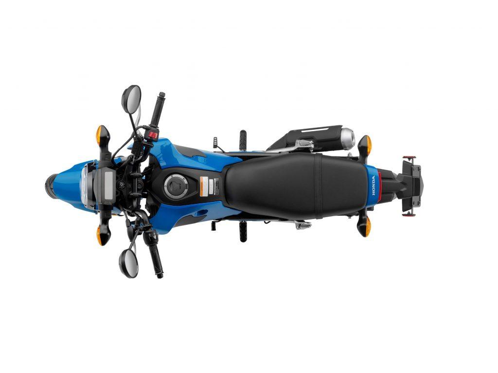 An overhead view of a blue 2022 Honda Grom