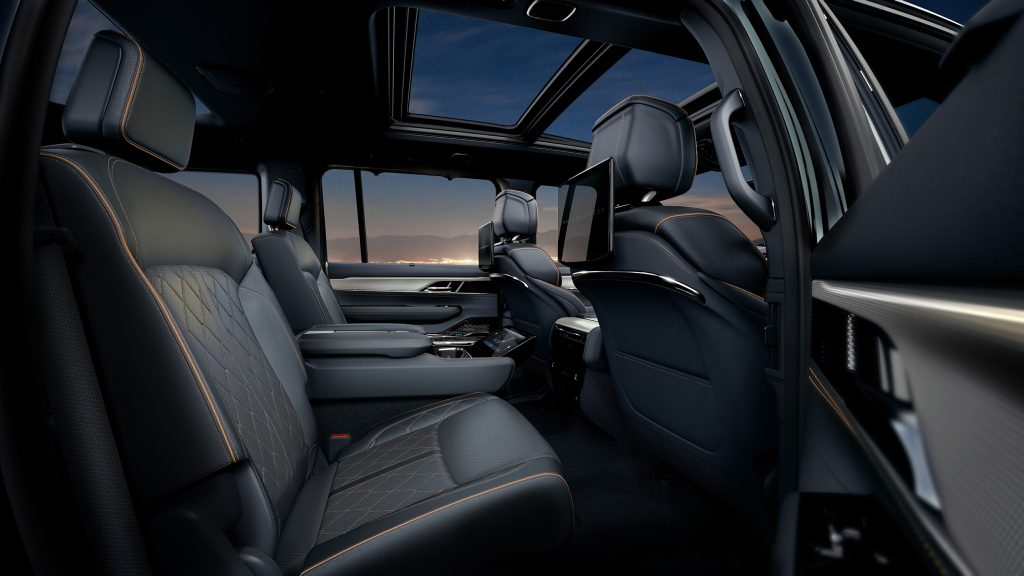 The 2022 Jeep Grand Wagoneer Obsidian interior in the back seat