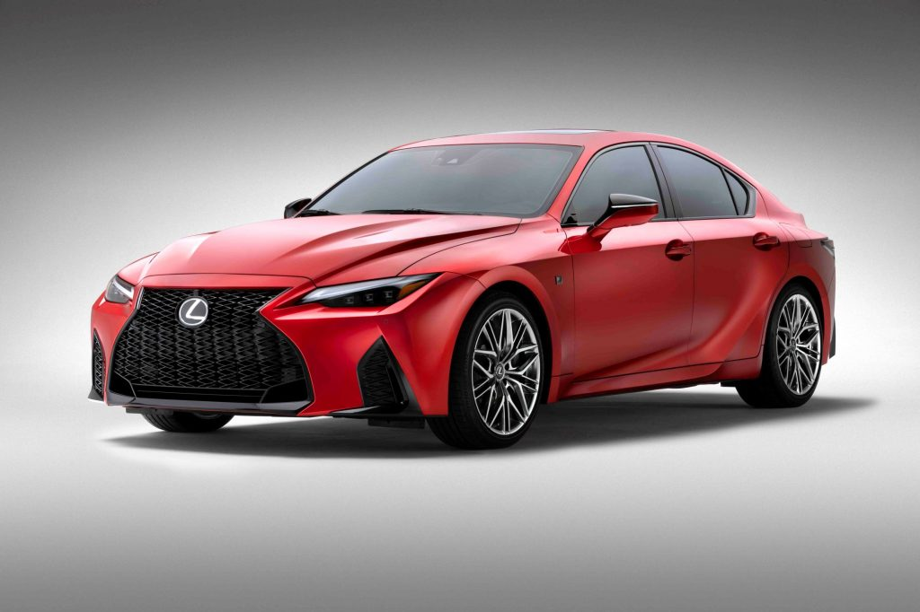 A red 2022 Lexus IS500 F Sport Performance