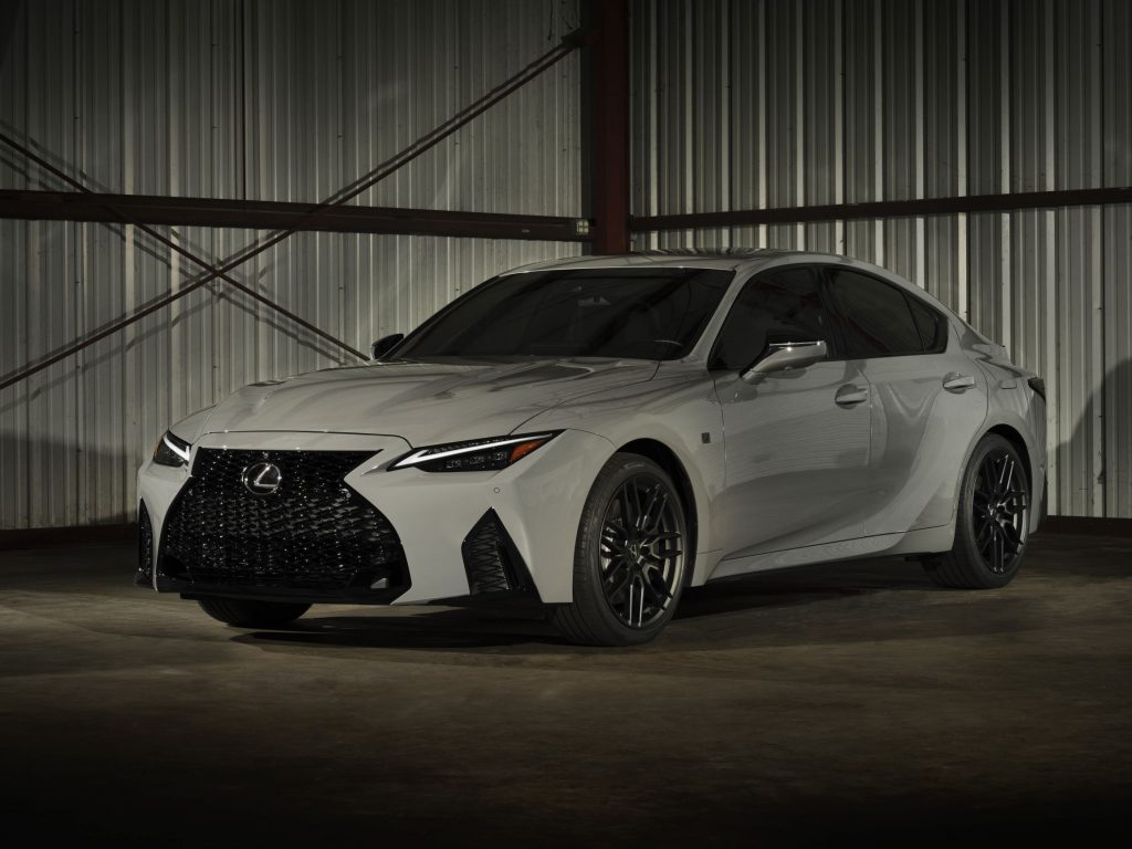 A gray 2022 Lexus IS500 F Sport Performance Launch Edition in a warehouse