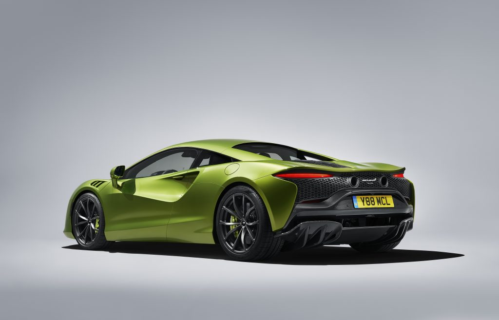 Concept art of a lime green 2023 McLaren Artura