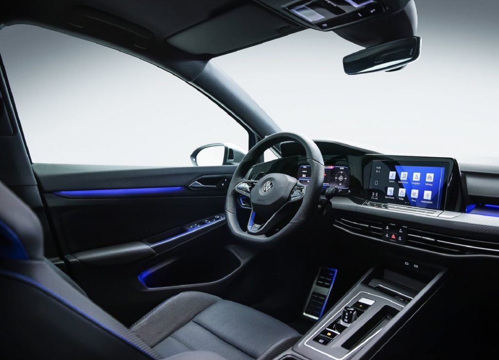 The black-leather driver's seat and dashboard of the 2022 Volkswagen Golf R