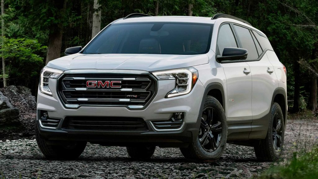 The 2022 GMC Terrain AT4 parked in gravel