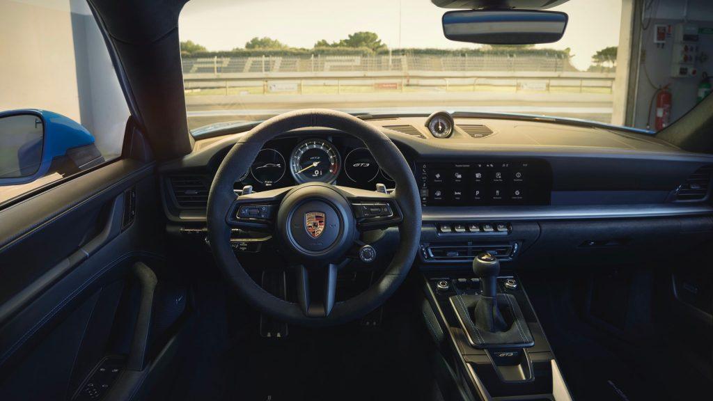 rich black leather interior of the 2022 Porsche 911 GT3