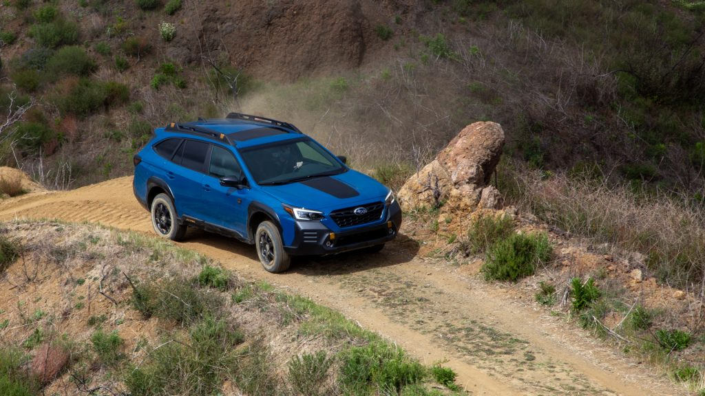 The 2022 Subaru Outback Wilderness off-roading in dirt