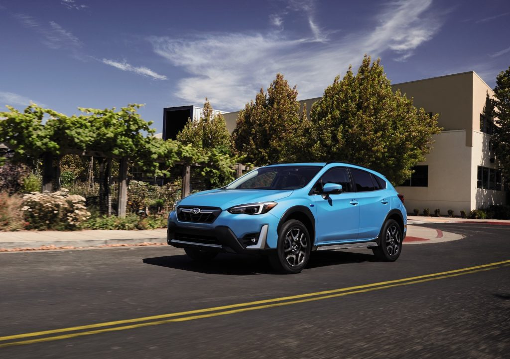 2021 Subaru Crosstrek in Blue which scored and 89/100 on Consumer Reports