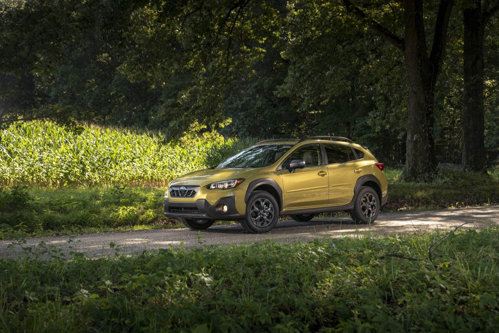 2021 Subaru Crosstrek Sport parked on a wooded road