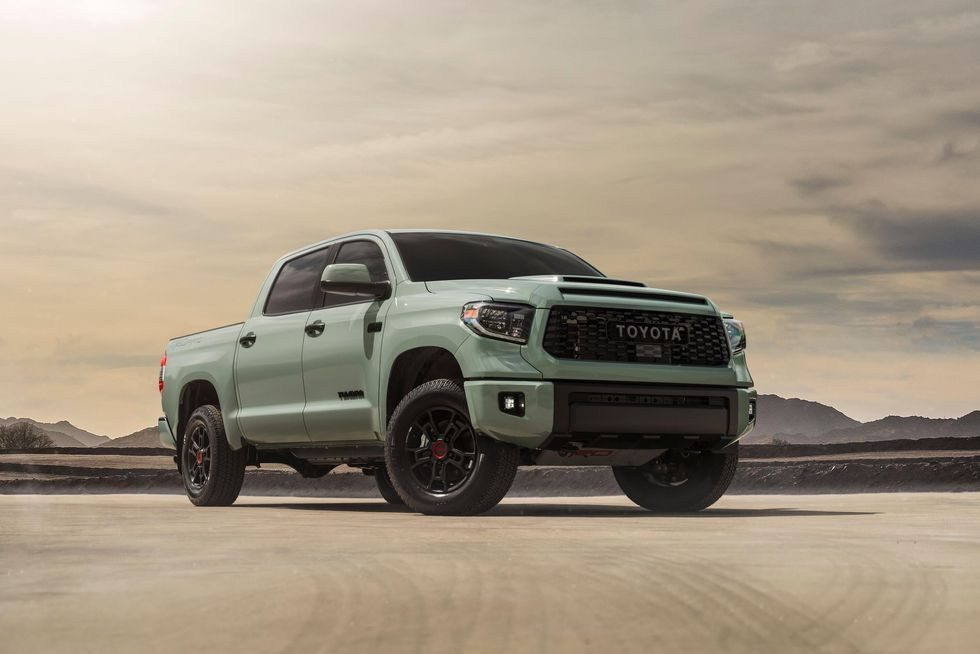 a 2021 Toyota tundra TRD pro in Lunar Rock showing off its aggressive stance in the desert.