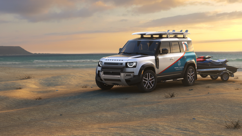 a coastal and marine conservation land rover defender concept on the beach