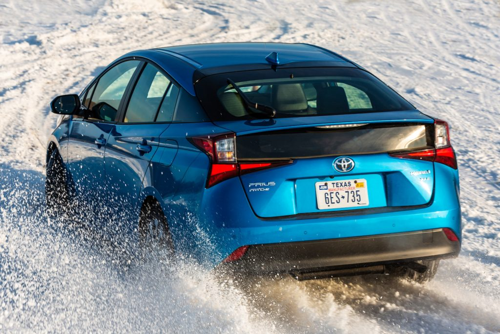 An all-wheel drive Toyota Prius in the snow