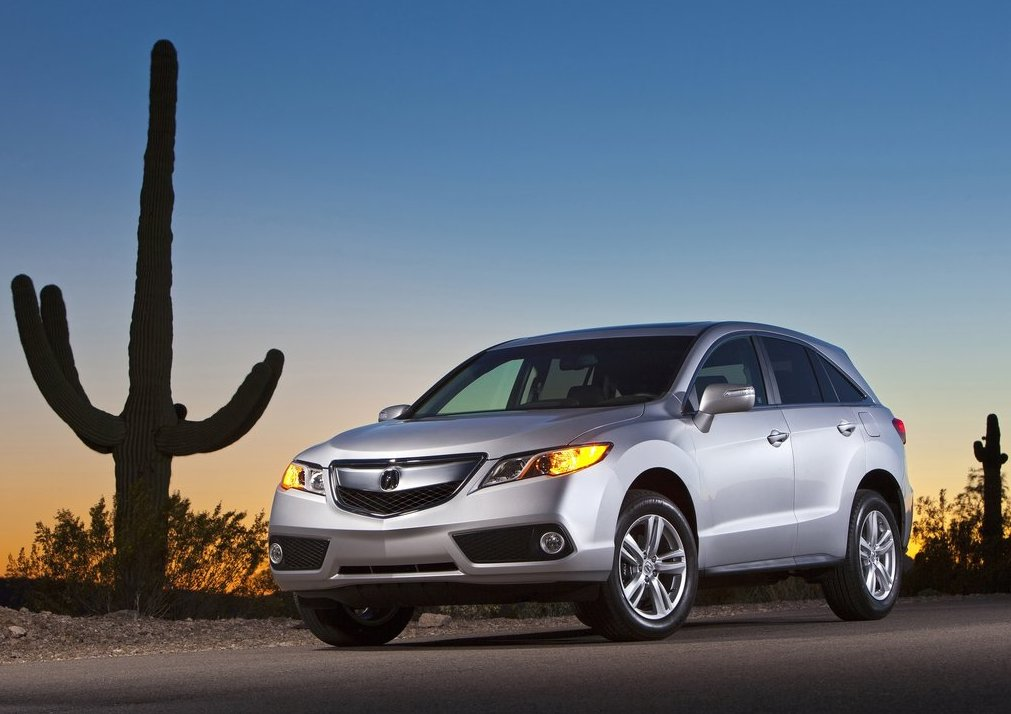 a shot of the 2013 Acura RDX in silver posing next to a cactus