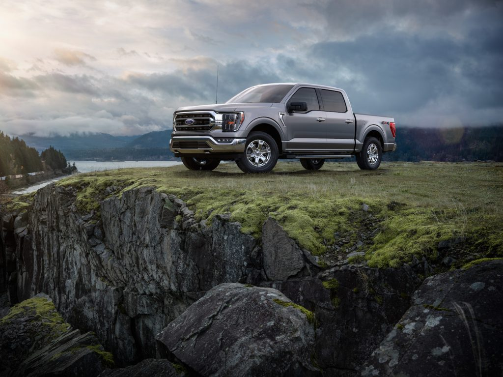 2021 Ford F-150 parked on top of rocks