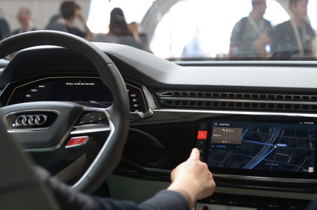 The cockpit of an Audi Q8 prototype with an infotainment system - which runs on the Android operating system.