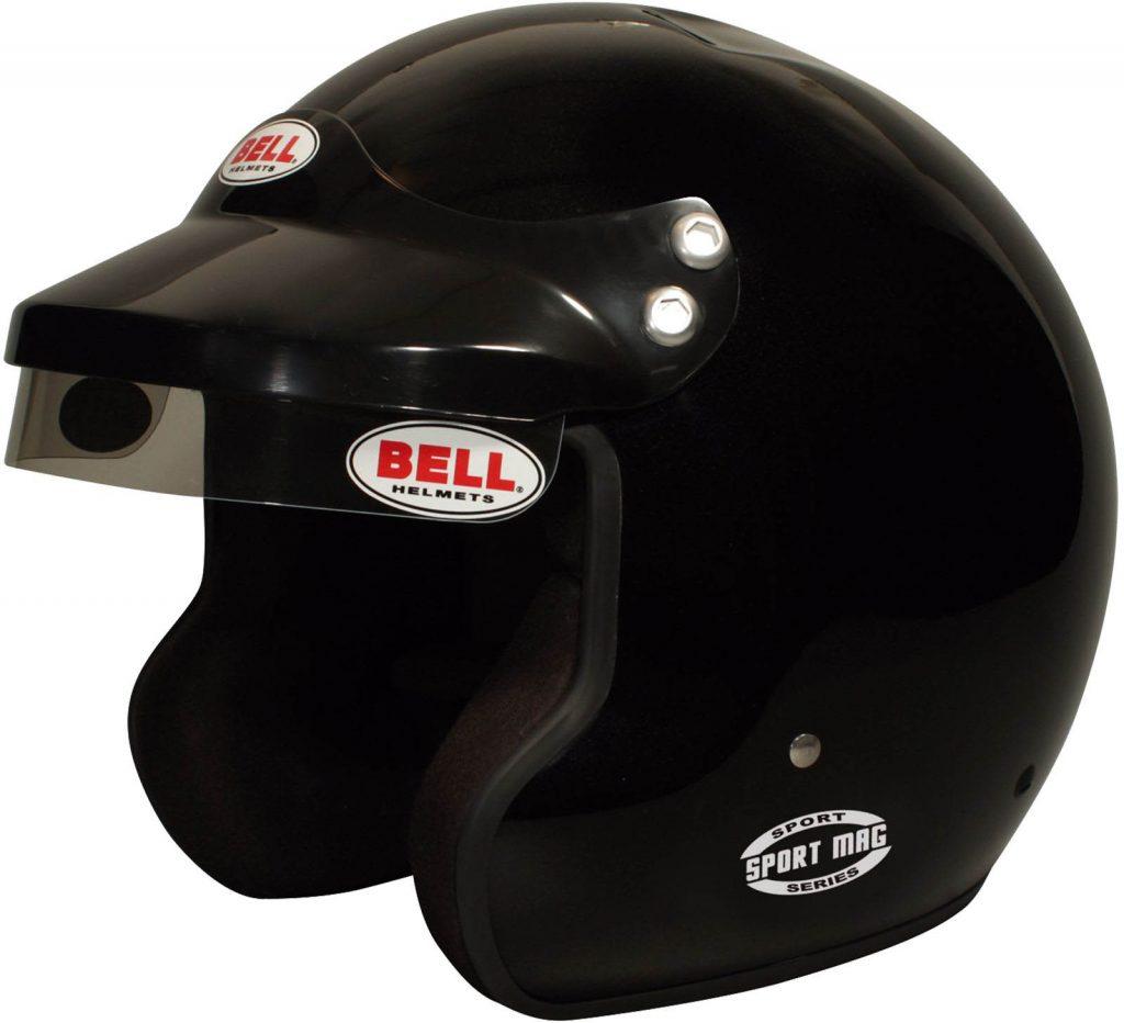 a black Bell Racing Sport Mag open-face helmet