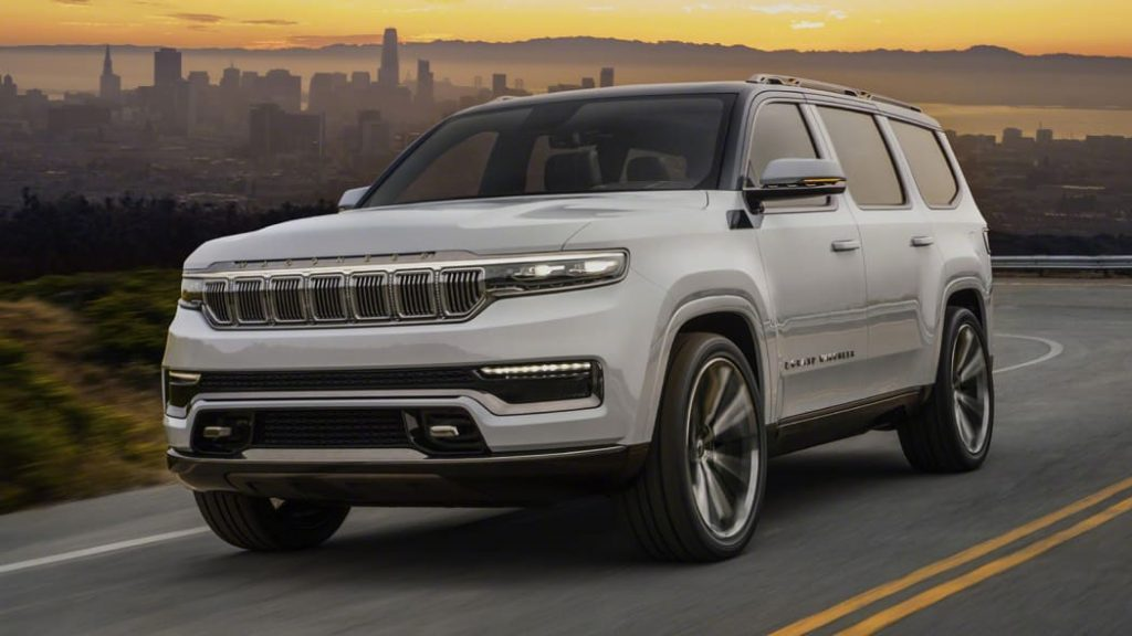 A 2022 Jeep Grand Wagoneer Concept driving on the road