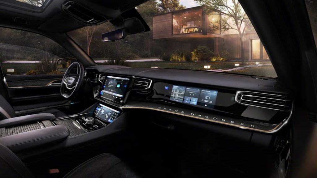 The dashboard of the 2022 Jeep Grand Wagoneer Concept Interior