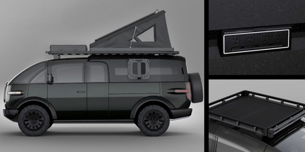 Canoo pickup truck with camper