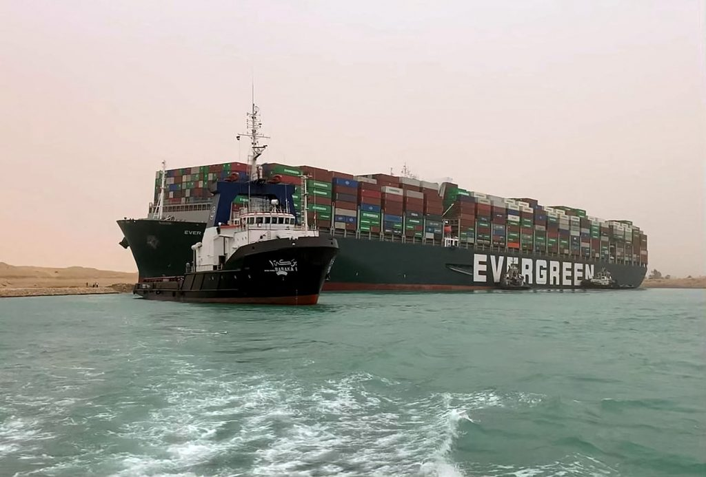A cargo ship stuck in the Suez Canal