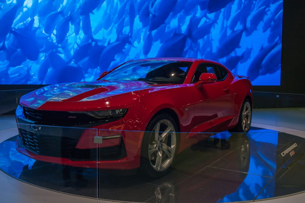 The New 2019 CAMARO SS car is presented during the International Motor Show Bogota 2018