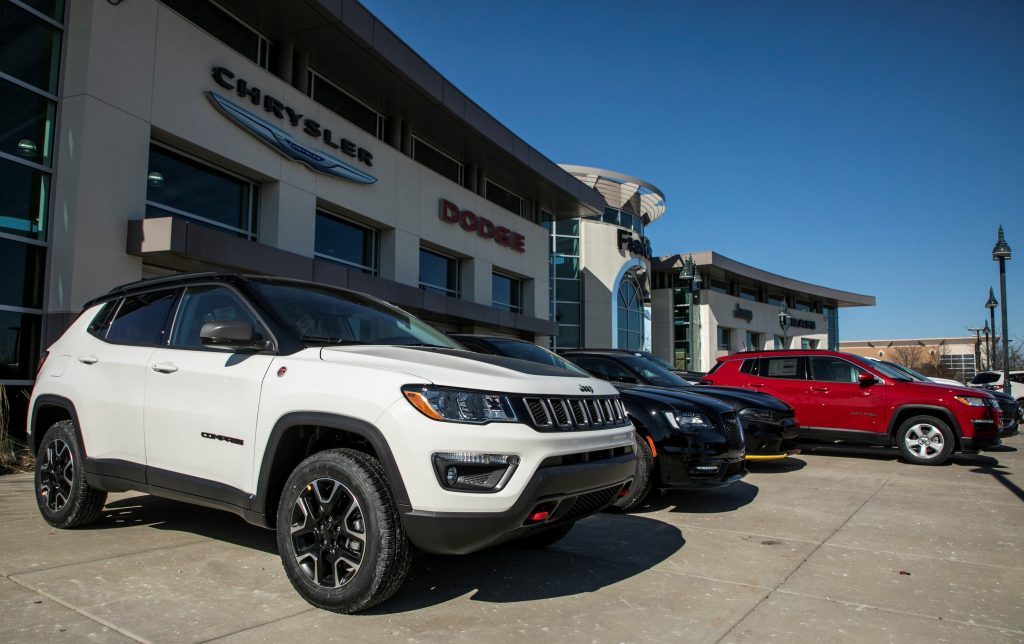 FCA vehicles are seen at a dealership in Glenview, Illinois, the United States, on March 3, 2021. Fiat Chrysler Automobiles NV FCA raked in 29 million U.S. dollars in net income in 2020