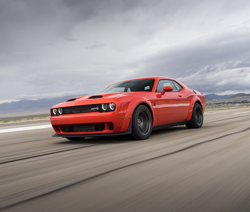 An image of a Dodge Challenger Hellcat outdoors.
