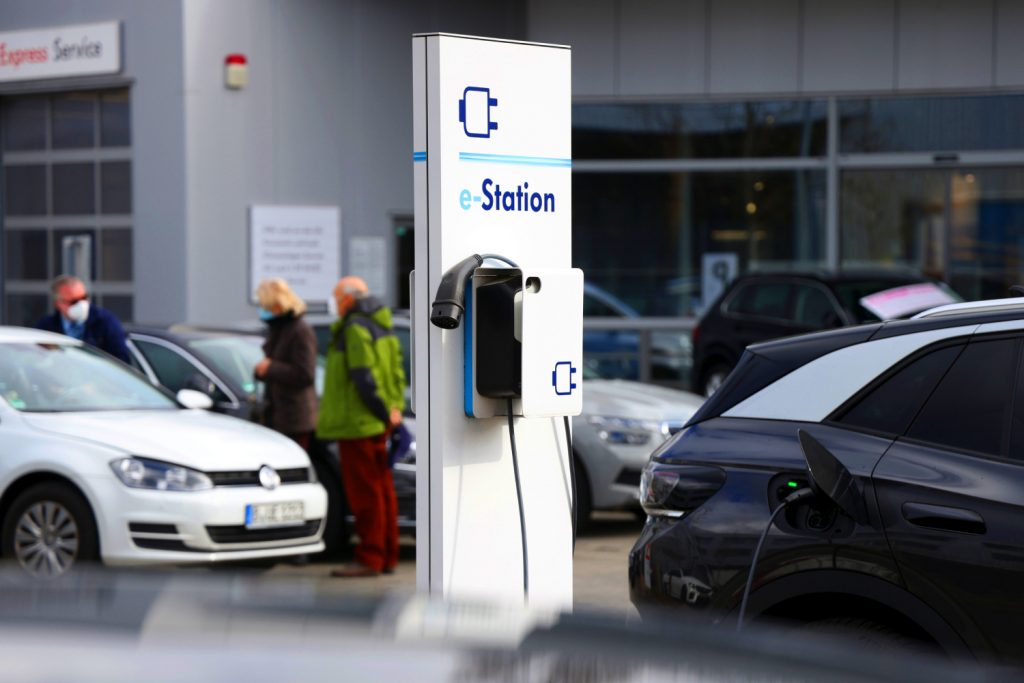 Public electric vehicle charging stations sometimes charge a fee