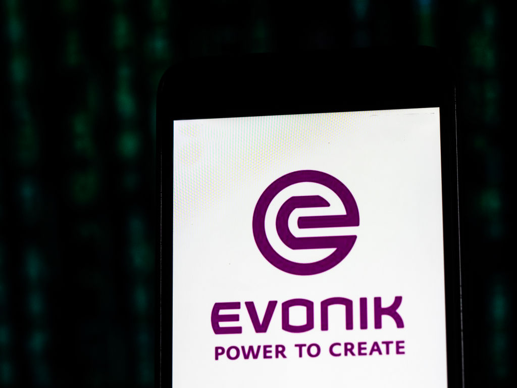 An illustration of the Evonik Industries logo as viewed on a smart phone.