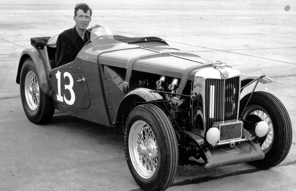 Carroll Shelby in the winning MG-TC he drove for his first race