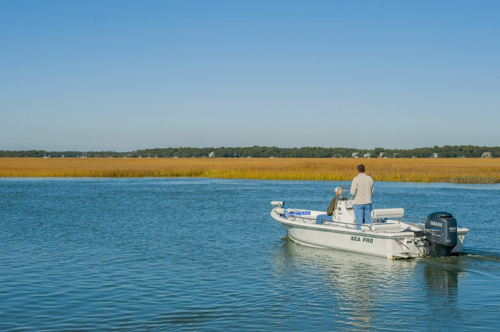 Men in a powerboat on the Intracoastal Waterway at Edisto