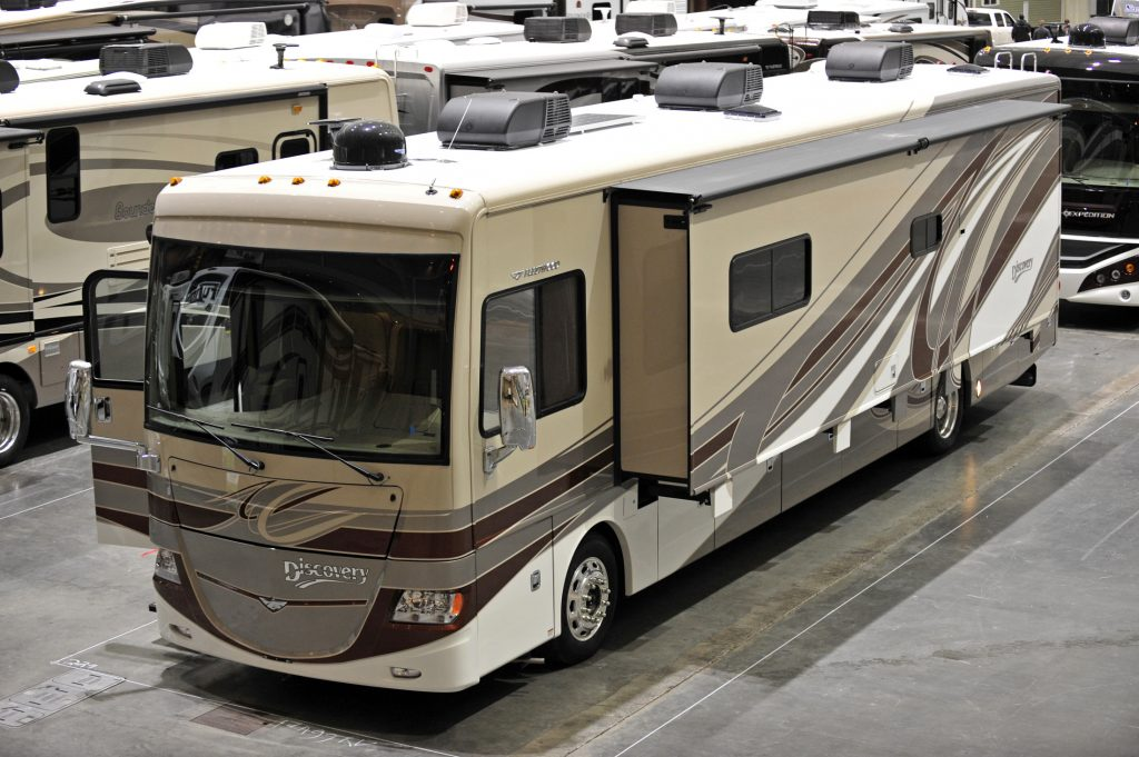 A Fleetwood Discovery is seen parked at the Boston RV & Camping Expo at the Boston Convention and Exhibition Center