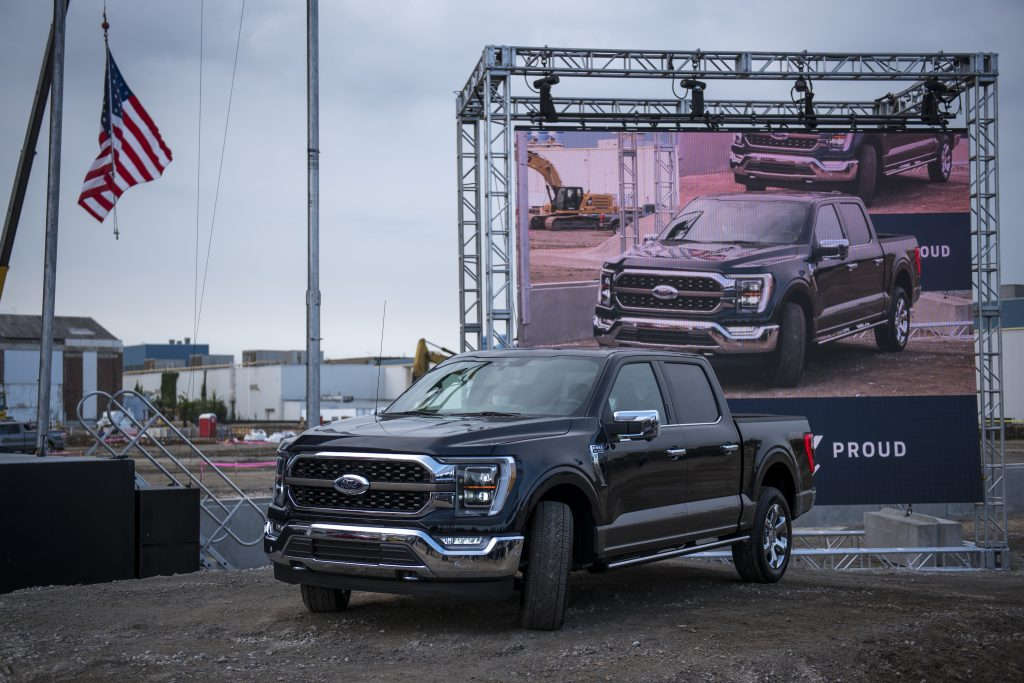 The 2021 Ford F-150 King Ranch Truck appears at the Ford Built for America event at Ford's Dearborn Truck Plant