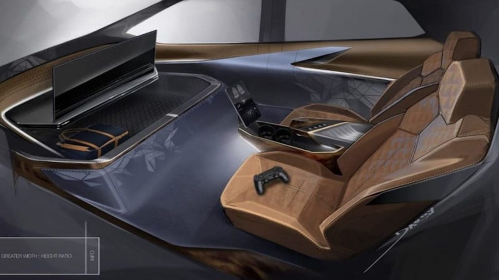 new computer rendering showing the cabin of a self-driving car from GM with video games and TV inside