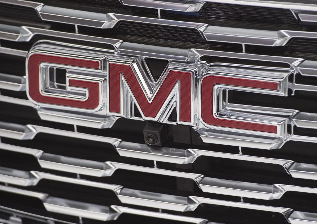 The GMC logo is seen during the 2017 North American International Auto Show in Detroit, Michigan